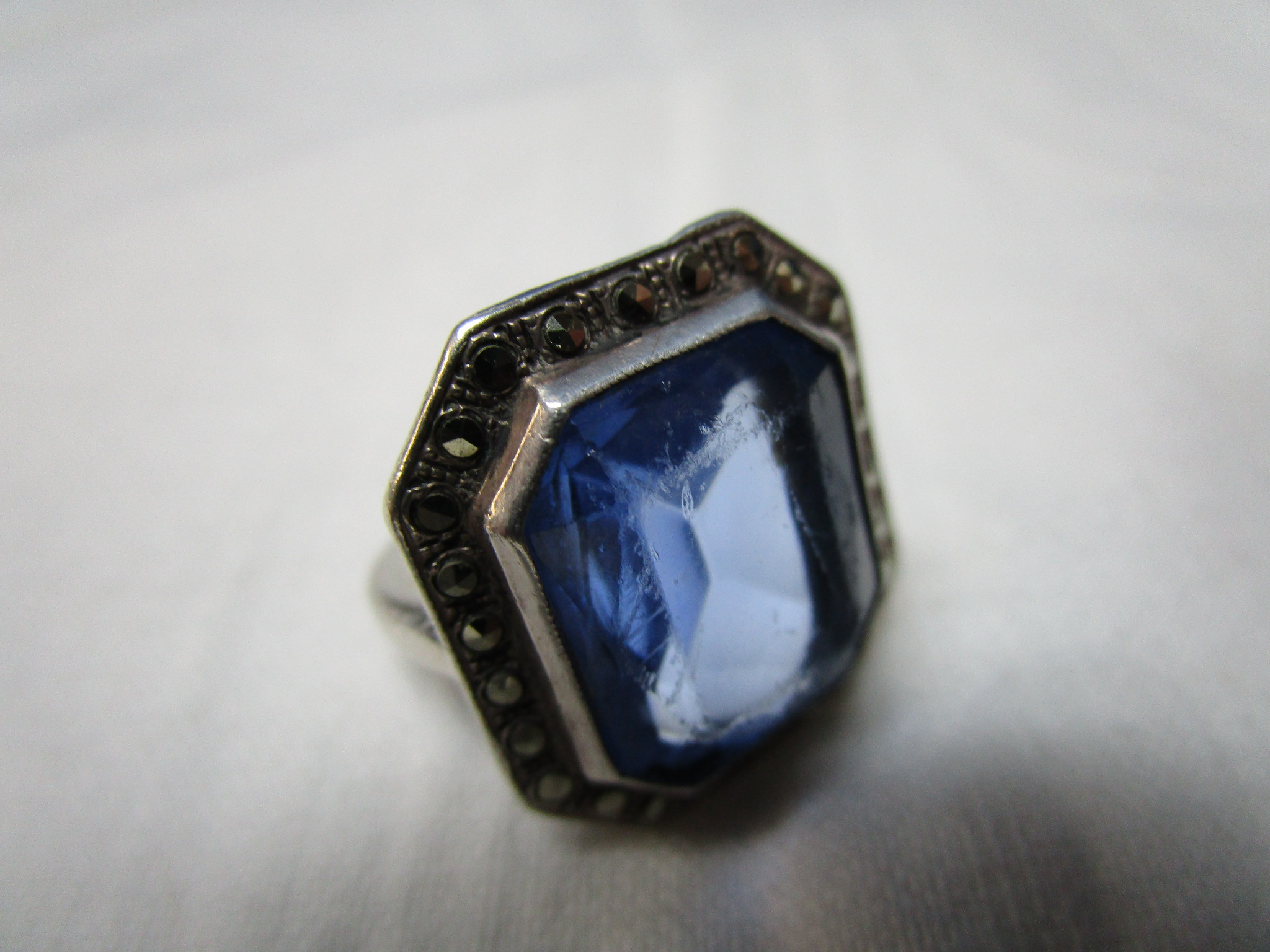 $45 - Sterling Silver Ring with Marcasites and Blue Topaz - Nice